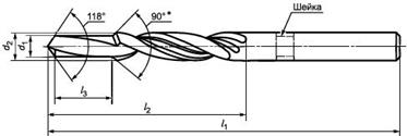 Рисунок 9 Ступенчатое сверло с цилиндрическим хвостовиком для отверстия под резьбу и снятия фаски (ГОСТ Р 52966-2008).