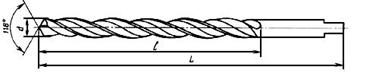 Рисунок 6 Спиральное сверло длинной серии с коротким цилиндрическим хвостовиком (ГОСТ 12122, ГОСТ 2092-77)